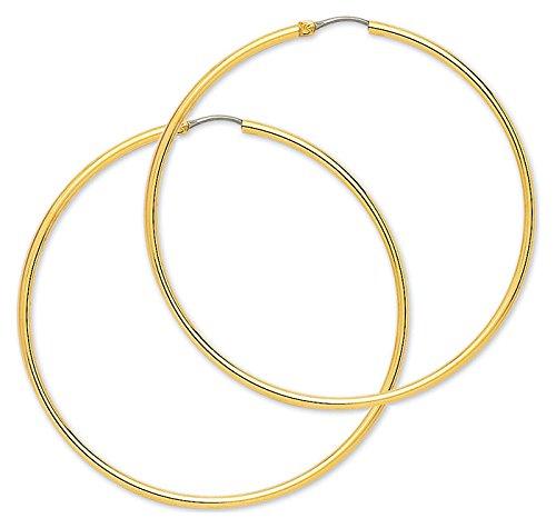 Orleo - REF8175BB : Créoles Femme Or 18K jaune - Fil rond 2 mm - 60 mm