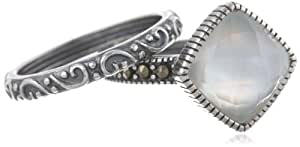 Sterling Silver Oxidized Marcasite, White Shell and Crystal Cushion Cut Ring, Size 7