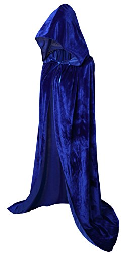 Blue Hooded Cape Costume (VGLOOK Full Length Hooded Cloak Long Velvet Cape for Halloween Cosplay Costumes 59
