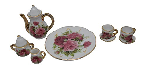 1:6 Scale 10 Piece Mini Dollhouse Size Rose Floral Tea Set with Teapot, Sugar, Creamer, Two Cups and Saucers, and Plate (Rose House Tea)