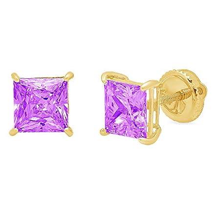 4.0 ct Princess Cut Solitaire Natural Purple Amethyst...