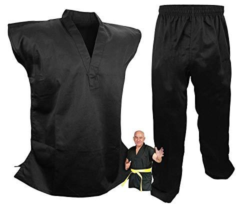 PROWIN1 Sleeveless Martial Arts Uniform Gi Set Black Karate Taekwondo, Cotton/Poly Blend (7)
