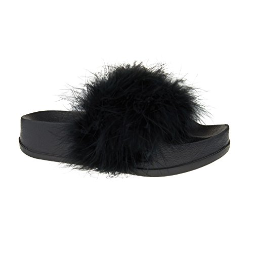 New Womens Fur Sliders Slipper Ladies Rubber Flat Slip On Sandals Mules Size 3-9 Black YqQkW5Ygxl
