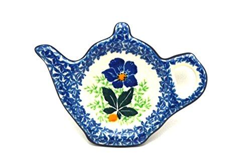Polish Pottery Tea Bag Holder - Blue Pansy