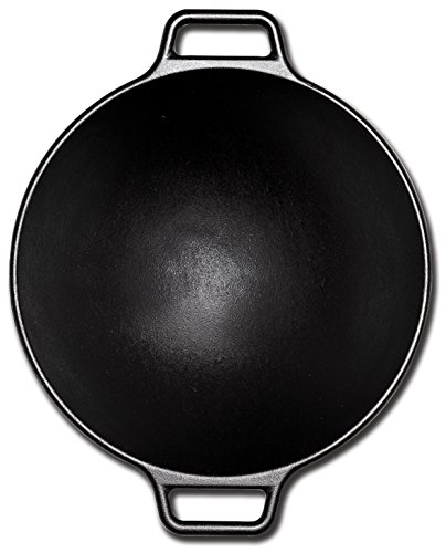 Lodge 14 Inch Cast Iron Wok. Pre-Seasoned Wok with Flattened Bottom for Asian Stir Fry and Sautees
