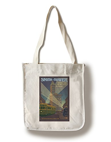 Lantern Press Seattle, Washington - Smith Tower (100% Cotton Tote Bag - Reusable)