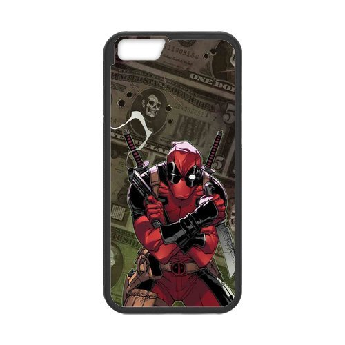 Fayruz- Personalized Protective Hard Textured Rubber Coated Cell Phone Case Cover Compatible with iPhone 6 & iPhone 6S - Deadpool Superhero F-i5G757