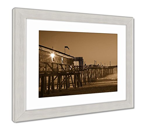 Ashley Framed Prints Avalon Fishing Pier in Kitty Hawk On The Outer Banks is A Popular Destination, Wall Art Home Decoration, Sepia, 30x35 (Frame Size), Silver Frame, ()
