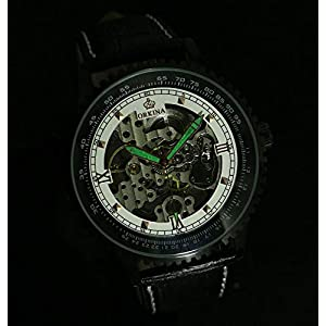 Carrie Hughes Men's Luminous Hands Steampunk Skeleton Automatic Mechanical Stainless Steel Leather Watch
