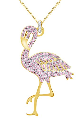 - Wishrocks Round Cut Simulated Tourmaline Flamingo Pendant Necklace in 14K Yellow Gold Over Sterling Silver
