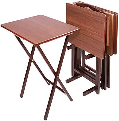 Pearington Folding TV Dining, Laptop Computer Stand, Gaming, Desk-4 Piece, Espresso Tray Table