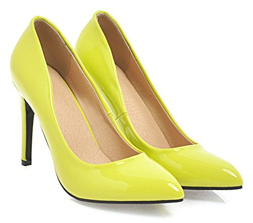 Aisun Womens Sexy Burnished Low Cut Dressy Bridal Party High Stiletto Heel Pointed Toe Slip On Pumps Shoes Yellow jQSfIdb