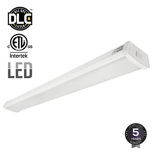 LEONLITE 40W 4ft LED Wraparound Garage Shop Light Flush Mount Ceiling Light, 100W Equiv. Ultra Bright 4000lm, Daylight 5000K for Laundry Rooms, Hallways, Offices, Workbenches