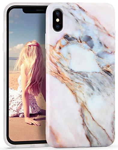 Imikoko iPhone Xs Max Case, iPhone Xs Max Marble Case, Slim Soft Flexible TPU Marble Pattern Cover for Apple iPhone Xs Max 6.5 (Pink)