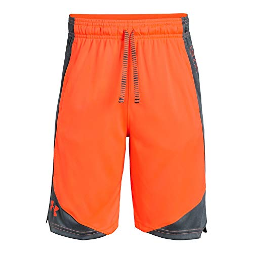 (Under Armour Boys' Stunt 2.0 Workout Gym Shorts, Orange Glitch (882)/White, Youth Large )