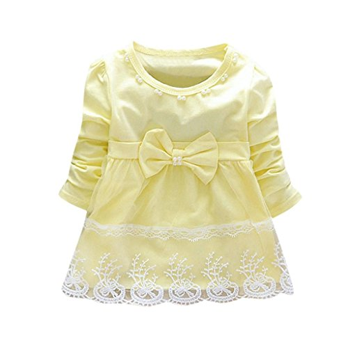 Creazrise Children Dress, Toddler Bowknot Long Sleeve Bowknot Dress Elegant Lace Dress For Baby (Yellow, ()