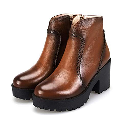 Boots Leather Shiney Martin Winter Women's Tube Low Ankle Genuine Fall Brown Color rI1RqIF