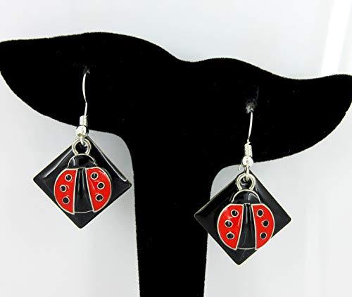 Silver-tone Black Enamel and Red Ladybug Charm Dangle Earrings