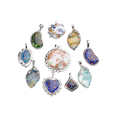 NBEADS Mixed Shape Handmade Millefiori Glass Pendants, with Platinum Tone Brass Findings, Mixed Color, 29~45x20~40x6~12mm, Hole: 4~7mm Handmade Millefiori Glass Pendants