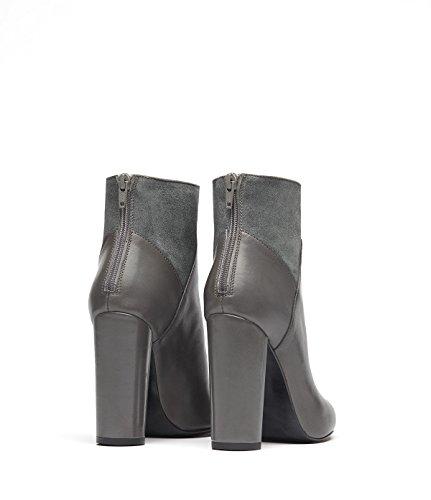 PoiLei Manon - chaussure femme / élégantes bottines en cuir à talon haut epais - avec bout pointu / style classique et élégant gris