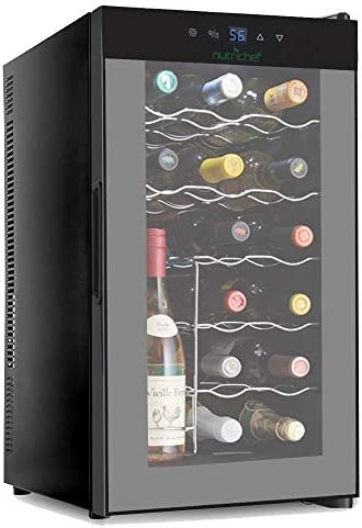 NutriChef 18 Bottle Thermo-electric Wine Cooler Chiller, Counter Top Wine Cellar with Digital Control, Freestanding Refrigerator, Smoked Glass Door, Quiet Operation Fridge Renewed