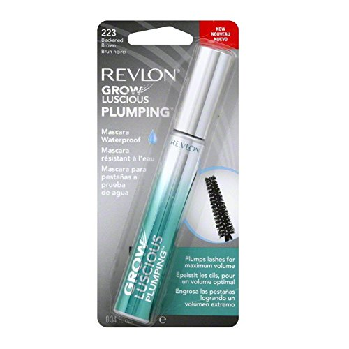 Revlon Grow Luscious Plumping Mascara Waterproof, Blackened Brown WP, 0.34 Fluid Ounce (Mascara Luscious Brown)