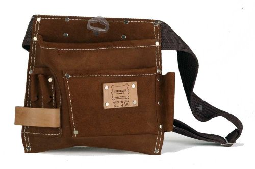 (Heritage Leather 495 5-Pocket Suede Leather Nail and Tool Bag)