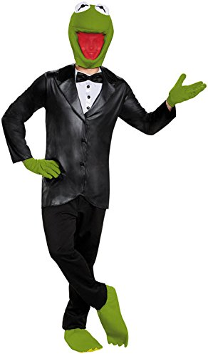 Disguise Men's Kermit Deluxe Adult Costume, Black/Green, X-Large (Kermit Costumes Adults)