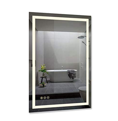 B&C 24x36 inch Super Slim Bathroom Mirror Horizontal or Vertical| LED Backlit -