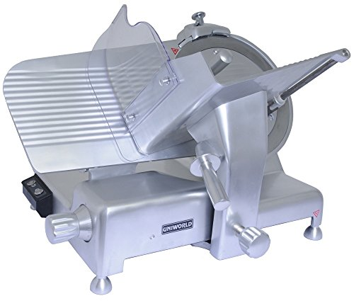 "Uniworld Aluminum Electric Meat Slicer with Stainless Steel 14"" Slicing Blade, Makes 1-1/8"" Thick Slices, ETL Approved Model SL-14E"