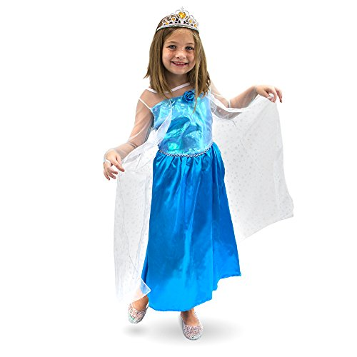 Blue Ice Princess Costume (Ice Princess Children's Girl Halloween Dress Up Theme Party Roleplay & Cosplay Costume, Girls, (S, M, L, XL) (Youth Medium (5-6)))