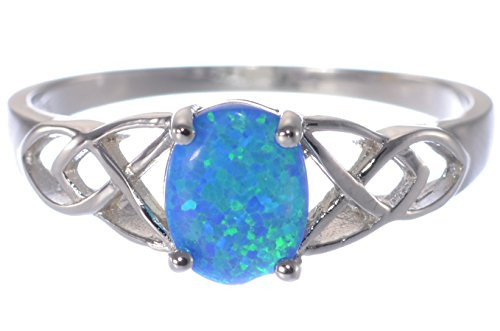 Bijoux Central Simulated Blue Fire Opal Oval Infinity Forever Celtic Design Ring .925 Sterling Silver ()