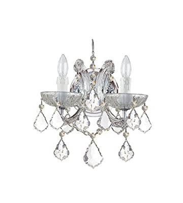 Wall Sconces 2 Light With Polished Chrome Clear Italian Crystal Glass 11 inch 120 Watts - World of Lighting