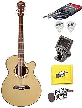 Oscar Schmidt og10cen brillante Natural acústica guitarra eléctrica w/afinador de clip y más: Amazon.es: Instrumentos musicales