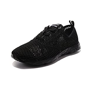 Kenswalk Women's Aqua Water Shoes Lightweight Slip On Walking Shoes(US 6, Black 2017)