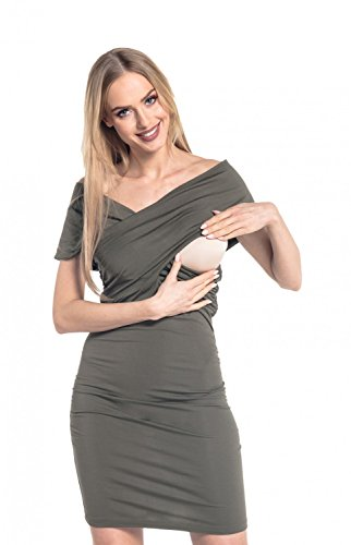 Happy Mama. Para Mujer Vestido Ajustado premamá de lactancia. Cuello V. 569p Caqui