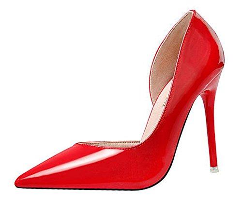 Ein Bißchen 2018 Damen OL Sommer Früling wilderleder Damen Frauen High Heels Pumps Rot
