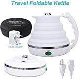 HOMYHOME Travel Foldable Electric Kettle - Fast Water Boiling - Food Grade Silicone - Small, Collapsible, Portable - Boil Dry Protection - 555ml - 110/220v - White