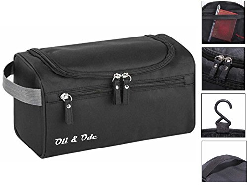 Toiletry Bag for Men Oli & Ode Hanging Travel Toiletry Kit for Men Toiletries cosmetics Rugged & Water Resistant with Mesh Pockets & Sturdy Hanging Hook Shower Bag-Black