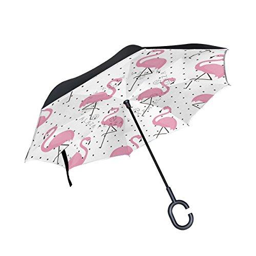 Cheap ALAZA Polka Dot Pink Flamingo Bird Inverted Umbrella, Large Double Layer Outdoor Rain Sun Car Reversible Umbrella