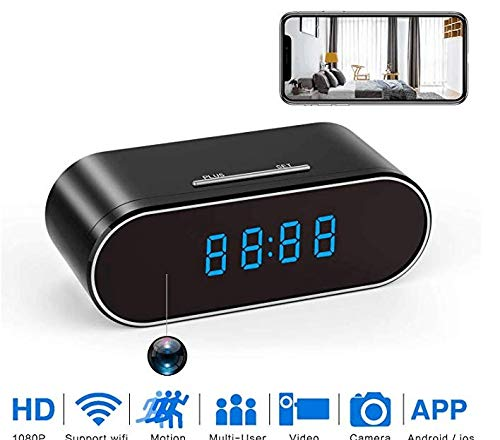 Hidden Spy Camera, 1080P WiFi Mini Camera Clock Wireless Security Cameras Video Recorder for Home Covert Monitor Remote View Nanny Cam 140°Angle Night Vision Motion Detection (2019 Upgraded Version) ()
