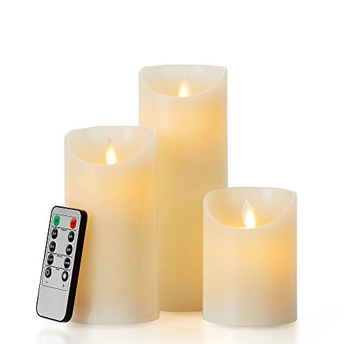 "glowiu Flameless Flickering LED Candles Moving Flame, Battery Candles Set of 3(H 4"" 6"" 8"" x D3) Real Wax Pillar with 10-Key Remote Multi-Function (Ivory)"