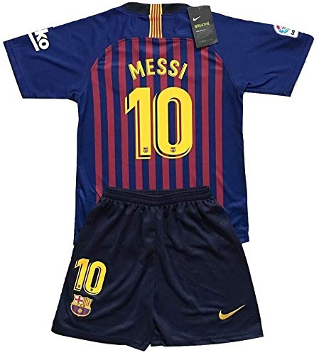 5d27f0240 Enevva Youths Messi  10 FC Barcelona 2018-2019 Home Soccer Jersey   Shorts  (7-8 Years Old)
