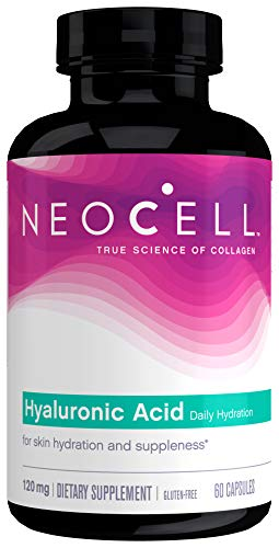 NeoCell Hyaluronic Acid, Daily Hydration for Skin Hydration  Suppleness, 120mg 60 Capsules (Packaging May Vary) in USA