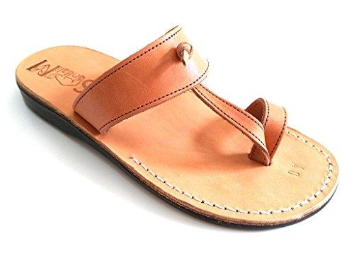 SANDALIM Mens Genuine Leather Sandals, Flip Flops, Biblical Sandals, Jesus Sandals, Empire Style Caramel
