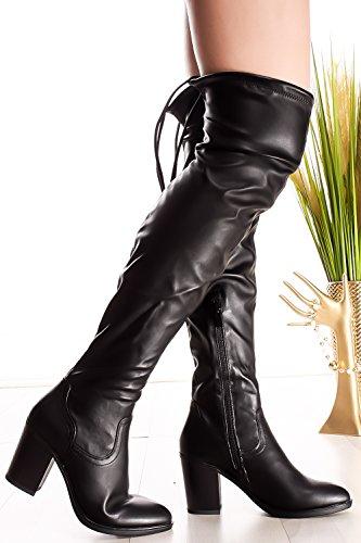 Sempre In Tinta Con Lycra In Ecopelle Sopra Il Ginocchio Con Tacco Grosso Boots Black-hugo-49