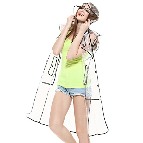 Ouvin Womens Transparent Hooded Raincoat EVA Lightweight Long Rainwear