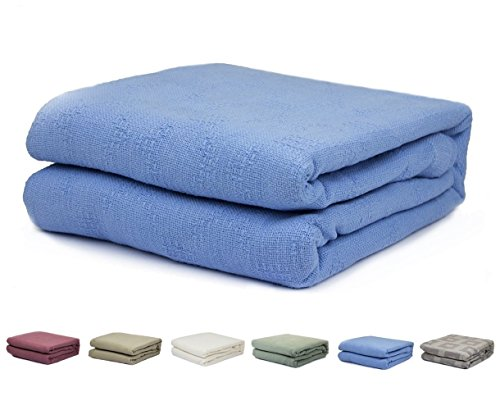 2PO Twin Size 100% Cotton Thermal Blanket (Blue Color)