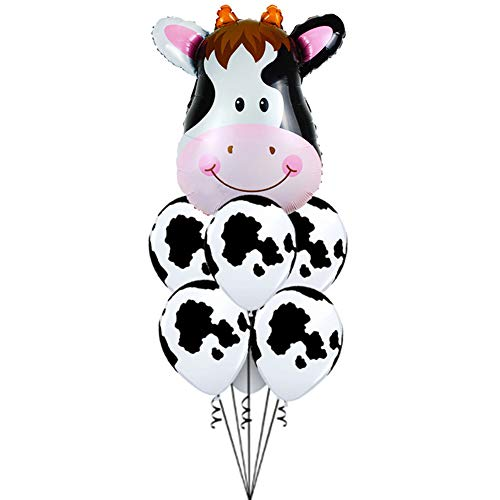 Large Carttoon Animal Cow Balloon Inflatable Aluminum Foil SuperShape Magical & Cute Cartton Latex Balloons for Kids Birthday Party Decoration or Gift -
