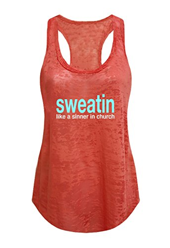 Tough Cookie's Women's Sweatin Like A Sinner in Church Burnout Tank Top (Large - LF, Coral) by Tough Cookie Clothing